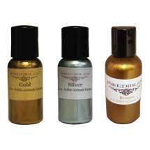 Trio of 60ml Bottles of Dazzle Airbrush Edible Ink - Gold, Silver and Bronze