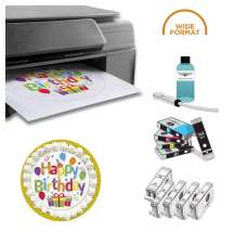 PROFESSIONAL DELUXE PACKAGE: INKEDIBLES WIDE FORMAT CANON IX6820 BUNDLED PRINTING SYSTEM (INCLUDES BRAND NEW PRINTER + EDIBLE INK CARTRIDGES + CLEANING CARTRIDGES + PROFESSIONAL FLUSH SYSTEM)