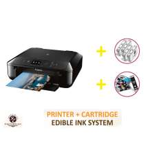 DELUXE PACKAGE 1: INKEDIBLES CANON PIXMA TS5020 BUNDLED PRINTING SYSTEM - INCLUDES BRAND NEW BLACK PRINTER (WITH SCANNER) WITH COMPLETE SET OF EDIBLE INK CARTRIDGES AND CLEANING CARTRIDGES