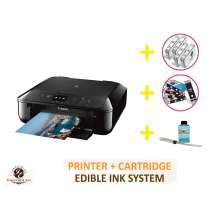 DELUXE PACKAGE 2: INKEDIBLES CANON PIXMA TS5020 BUNDLED PRINTING SYSTEM - INCLUDES BRAND NEW BLACK PRINTER (WITH SCANNER) WITH COMPLETE SET OF EDIBLE INK CARTRIDGES, CLEANING CARTRIDGES AND FLUSH SYSTEM
