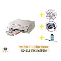 DELUXE PACKAGE 2: INKEDIBLES CANON PIXMA TS5020 BUNDLED PRINTING SYSTEM - INCLUDES BRAND NEW GRAY PRINTER (WITH SCANNER) WITH COMPLETE SET OF EDIBLE INK CARTRIDGES, CLEANING CARTRIDGES AND FLUSH SYSTEM