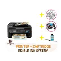 Professional Deluxe Package: InkEdibles Epson WF-2630 Bundled Printing System (includes Brand New Printer + Edible Ink Cartridges + Cleaning Cartridges + Professional Flush