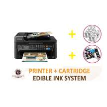 DELUXE PACKAGE 1: INKEDIBLES Epson WorkForce WF-2750 Wireless BUNDLED PRINTING SYSTEM - includes Printer With Complete Set of Edible Ink Cartridges and Cleaning Cartridges