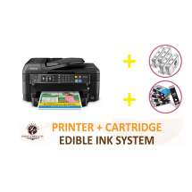 DELUXE PACKAGE 1: INKEDIBLES Epson WorkForce WF-2760 Wireless BUNDLED PRINTING SYSTEM - includes Printer With Complete Set of Edible Ink Cartridges and Cleaning Cartridges