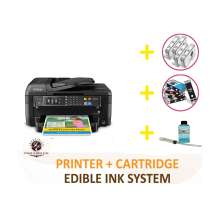 DELUXE PACKAGE 2: INKEDIBLES Epson WorkForce WF-2760 Wireless BUNDLED PRINTING SYSTEM - includes Printer With Complete Set of Edible Ink Cartridges, Cleaning Cartridges and Flush System