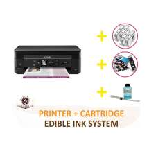 DELUXE PACKAGE 2: INKEDIBLES Epson Expression Home XP-340 BUNDLED PRINTING SYSTEM - includes Small-in-One Printer With Complete Set of Edible Ink Cartridges, Cleaning Cartridges and Flush System