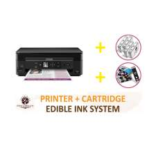DELUXE PACKAGE 1: INKEDIBLES Epson Expression Home XP-340 BUNDLED PRINTING SYSTEM - includes Small-in-One Printer With Complete Set of Edible Ink Cartridges and Cleaning Cartridges