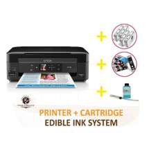 DELUXE PACKAGE 2: INKEDIBLES Epson Expression Home XP-440 / XP-446 BUNDLED PRINTING SYSTEM - includes Small-in-One Printer With Complete Set of Edible Ink Cartridges, Cleaning Cartridges and Flush System