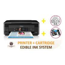 DELUXE PACKAGE 1: INKEDIBLES Epson Expression Home XP-440 / XP-446 BUNDLED PRINTING SYSTEM - includes Small-in-One Printer With Complete Set of Edible Ink Cartridges and Cleaning Cartridges